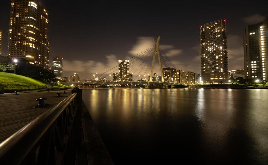 中央区隅田川沿いでマニュアル撮影した夜景写真をシャッタースピード別に紹介