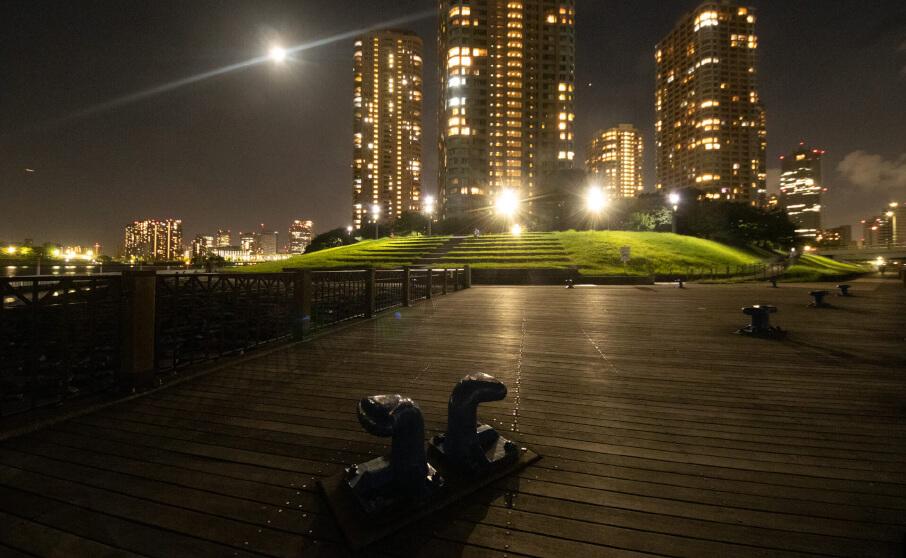 佃公園から撮影した中央区界隈の無加工夜景写真