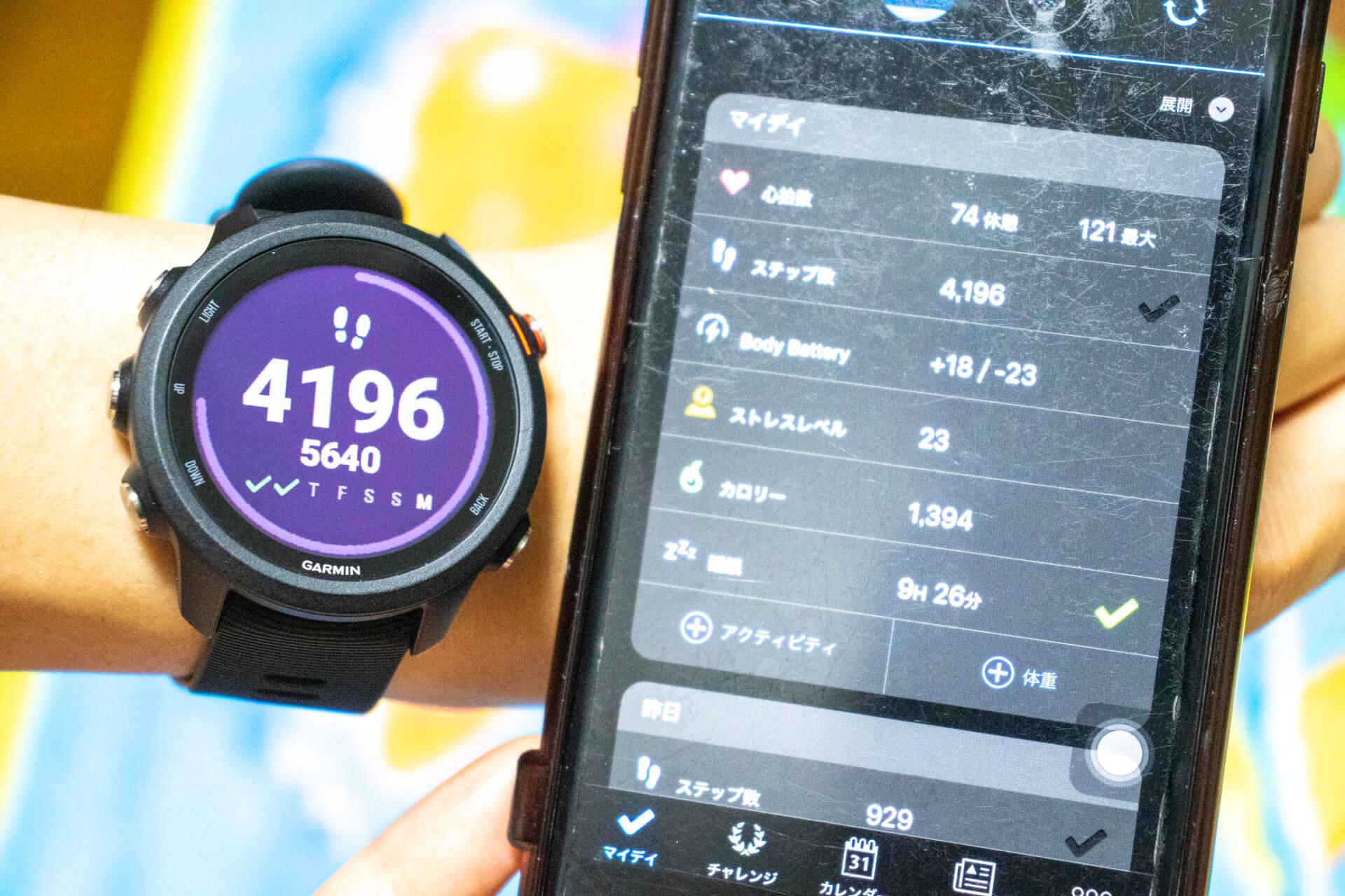 ForeAthlete 245 Music 歩数と消費カロリー表示画面