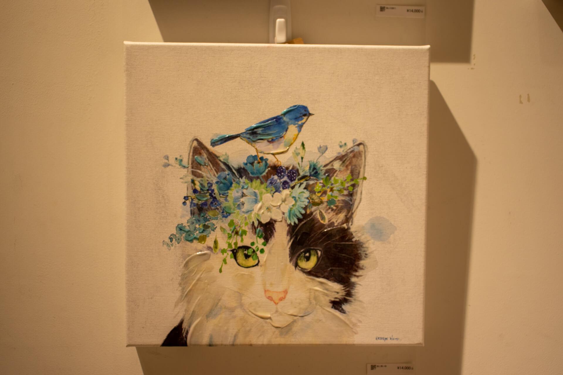 油絵具で描かれた猫